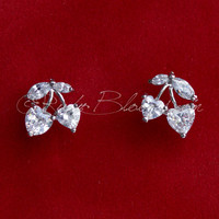 CZ Crystal Silver Cherry Gift Stud Earrings