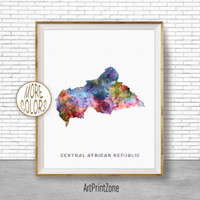 Central Africa Republic Art, Watercolor Map, Office Wall Decor, Office Wall Art, Living Room Art, Map Decor, Map Wall Art Print Zone