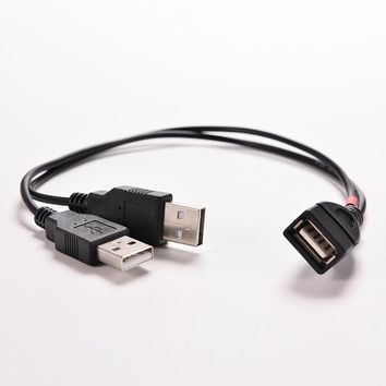 "1PC USB 2.0 1 Female Power Enhancer to 2 Male USB Data Charge Cable Adapter Extension Cord 30cm USB Y Splitter for 2.5"" HDD"