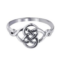 Gem Avenue 925 Sterling Silver Celtic Rounded Knot Design Ring