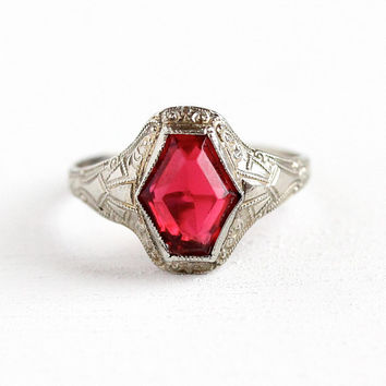 Simulated Ruby Ring - Vintage 10k White Gold Art Deco Ostby & Barton - Size 5 3/4 Milgrain Filigree Red Pink Glass Stone OB Fine Jewelry