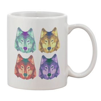 Geometric Wolf Head Pop Art Printed 11oz Coffee Mug by TooLoud