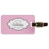 Pink and White Chevron Stripe Luggage Tag