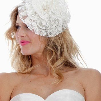 064 French Lace Mini Hat or Fascinator by UntamedPetals on Etsy