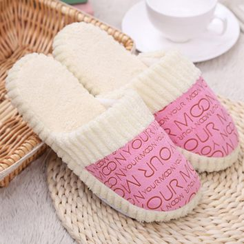 1 Pair Cozy Warm Coral Velvet Letter Print Slippers Slip On House Slippers Indoor Home Shoes