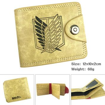 Cool Attack on Titan  Scouting Legion Cartoon Anime Men Women Boys Girls Short Leather Hasp Button Wallet Purse Money Holder AT_90_11