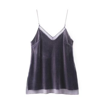 FREE SHIPPING Summer dress new double V collar splicing mesh yarn velvet with small vest