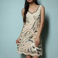 Retro Elegant 1920s Flapper Great Gatsby Charleston Dress V-Neck Embroidery Party Dress With Sequins Beading Applique