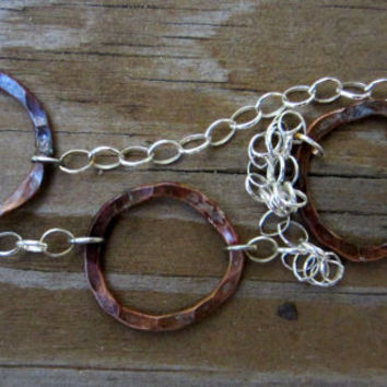 Long Copper Hoop Necklace, Long Mixed-metal Chain