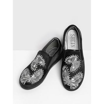 Rhinestone Butterfly Embroidery Satin Sneakers