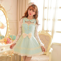Japanese sweet bowknot lace fluffy false two dresses