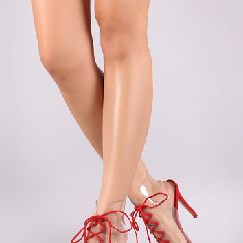 Suede Transparent Lace-Up Open Toe Stiletto Booties
