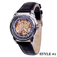Zouda Stainless Steel Mechanical Skeleton Leather Strap Watch