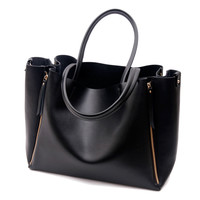Faye--Classic leather shopping bag Large black leather tote
