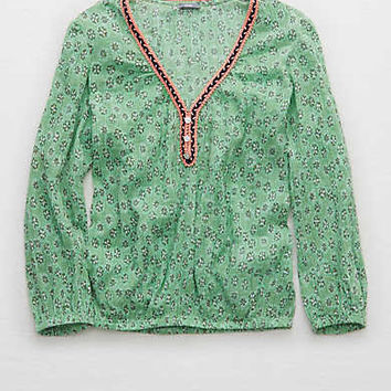 Aerie Embroidered Trim Peasant Top , Green