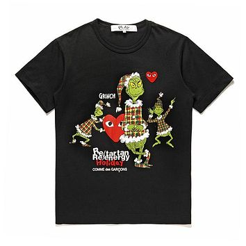 Mens CDG PLAY COMME DES GARCONS Play Fashion Black Re-tartan Re-energy Holiday Black T-Shirt DSM limited edition