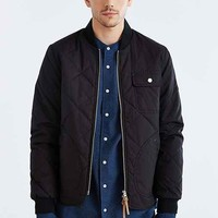 Native Youth Quilted Curved Hem Varsity Jacket- Black