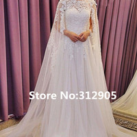 2016 Luxury beaded and Crystal White Wedding dress Gorgeous With Cape O-Neck A-Line Wedding Gowns Formal Dress Robe de mariee