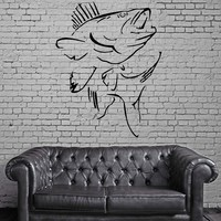 FISH & HUNT SEA BASS OCEAN MARINE DECOR Wall MURAL Vinyl Art Sticker Unique Gift M206