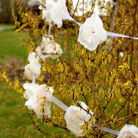 Outdoor wedding flower garland White/Ivory organza- Hanging Fabric Floral Garland, room decorations