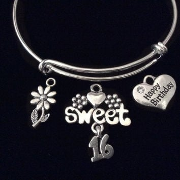 Sweet 16 Happy Birthday Daisy Expandable Charm Bracelet Adjustable Bangle Teenager Teen Gift