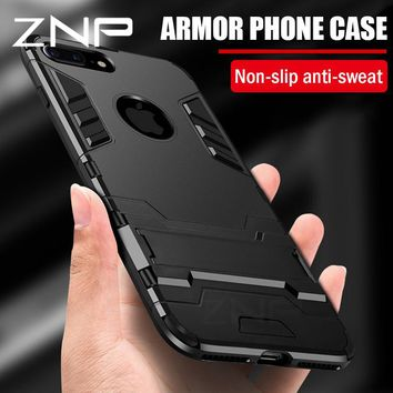 ZNP Full Shockproof Armor Phone Case For iPhone X 6 7 8 Plus Matte Protective Cover Cases For iPhone 8 7 Plus 5 5s SE Case Shell