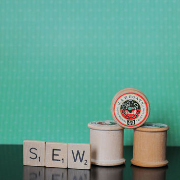 Sew, Scrabble Tile Word Art, Sewing Room Decor, Craft Room Art, Fine Art Photography, Thread, Spools, 8 x 10 Print