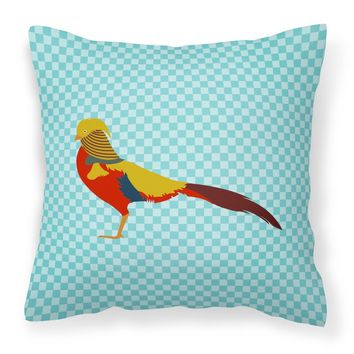 Golden or Chinese Pheasant Blue Check Fabric Decorative Pillow BB8102PW1818