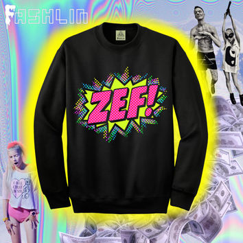 Kawaii ZEF Comic Book Pow Illustration Sweatshirt in Black // DIE ANTWOORD // fASHLIN