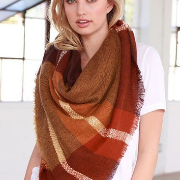 Oversized Rust Tone Plaid Throw Scarf