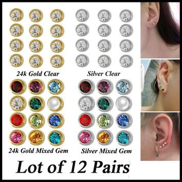 New 12pairs Fashion Silver Gold Birthstone Ear Piercing Studs Studex Sexy Girls Jewelry Professional for Earring Gun 18g