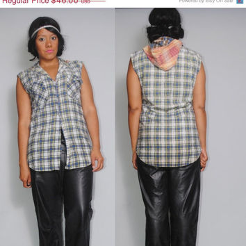 SALE Vintage 1970s 80s  colorblocked SLEEVELESS Paper thin soft  GRUNGE Flannel Button down shirt blouse with Hood