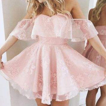 Elegant Short Party Dresses 2017 Sexy Women Mini Dress Off Shoulder Sexy Lace Robe Beach Party Vestidos Mujer Pink Black