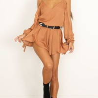 Cant Believe playsuit in rust Produced By SHOWPO