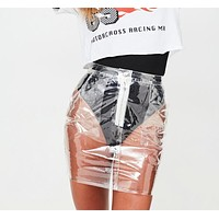 2017 Rare Hot Sale Transparent Skirts Women High Waist Skirt Zipper Waterproof Plastic Pencil Knee Length PVC Skirts