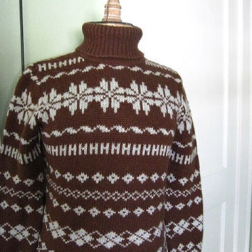 J.Crew Vintage 1980s era Wool Snowflake Ski Sweater Chocolate Brown and French Blue