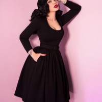 Troublemaker Swing Dress in Raven Black - Vixen by Micheline Pitt
