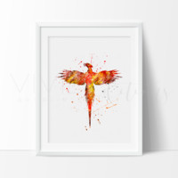 Harry Potter Phoenix Watercolor Art Print