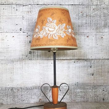 Lamp Vintage Table Lamp Rustic Metal and Wood Lamp Antique Floral Lampshade Heart Shaped Lamp Library Lamp Student Lamp Folk Art Table Lamp