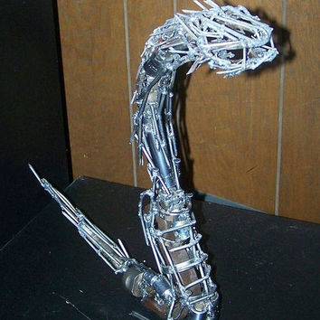 Metal Snake / Serpent Hand Welded Steampunk, Reclaimed Auto mobile Parts,