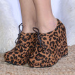 Gimme Right Meow Leopard Wedge Booties