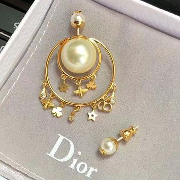 DIOR Trending Women Stylish Pearl Bee Flower Pentagram Pendant Earrings Accessories Jewelry