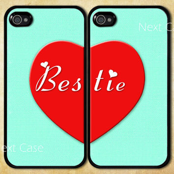 Best Friends iPhone 5 Case, bestie iphone 5 case, mint green iphone case, Two Case Set