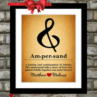 Personalized Ampersand Art Print Sign:  Rustic Vintage Decor Wall Art For Home Picture Office Art Custom Typography Choose Font & Color