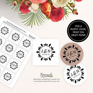 Ornate Wedding Favor Tags, Printable Wedding Tags, Monogram Wedding Favor Tags, Floral Favor Tags, Wedding Favor Labels, Printable Favor Tag