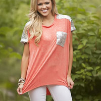 Sequin Shouldered Top Coral CLEARANCE - Modern Vintage Boutique
