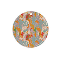 "Akwaflorell ""Fishes Here, Fishes There 2"" Multicolor Ceramic Circle Ornament"