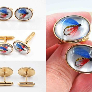 Vintage Krementz Fishing Lure Cufflinks, 14K Rolled Gold, Fish Hook, Domed, Fisherman, Angler, Mid Century Mod, Great Gift! #c573