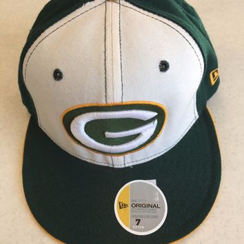 RETRO NFL NEW ERA 5950 GREEN BAY PACKERS YELLOW SIDE LOGO FLAT BRIM FITTED HAT