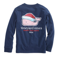 Boys Long Sleeve Santa Whale Pocket Tee